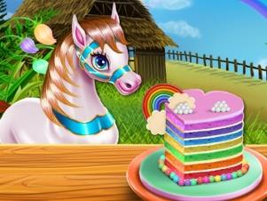 Pony Cooking Rainbow Cake